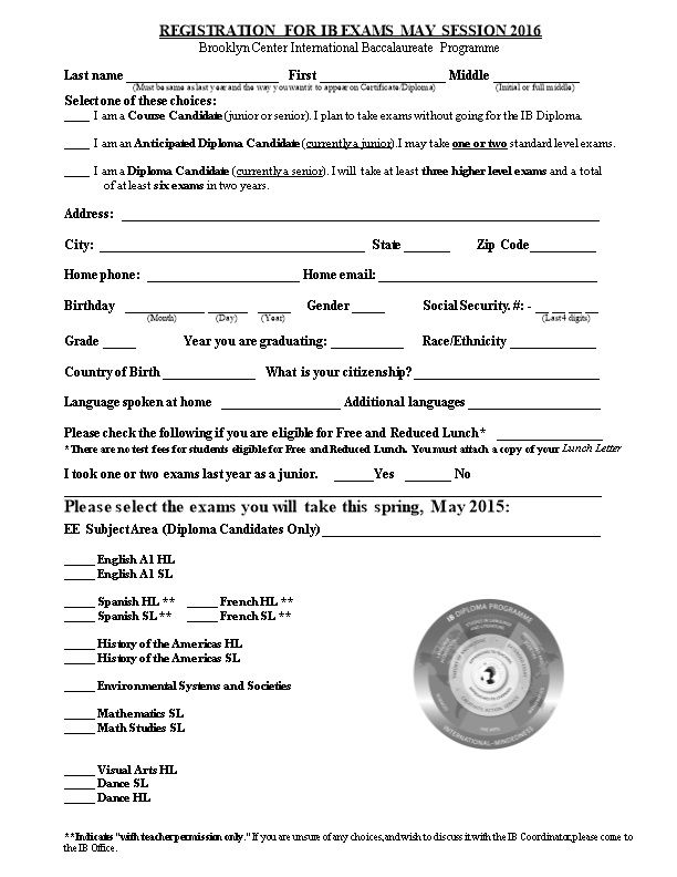 IB Exam Registration Form for Testing in May, 2003