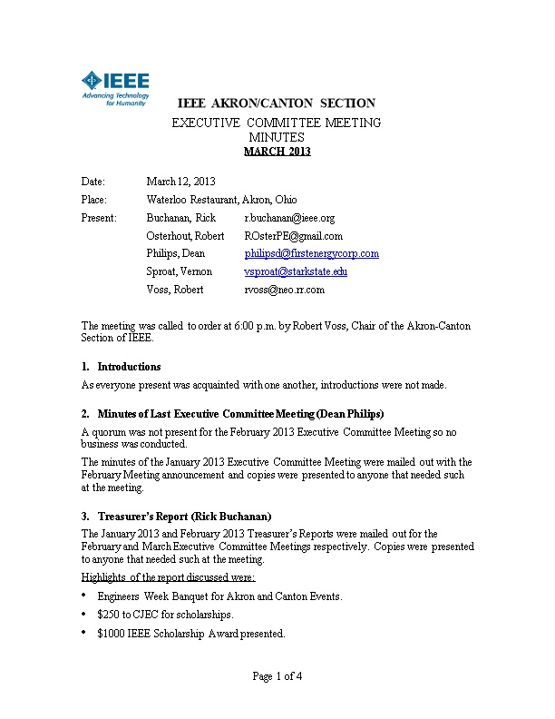 IEEE Akron/Canton Section, Executive Committee Meeting Minutes - January 2013