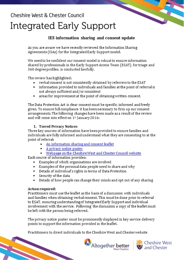 IES Information Sharing and Consent Update