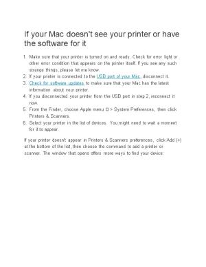 If Your Mac Doesn't See Your Printer Or Have the Software for It