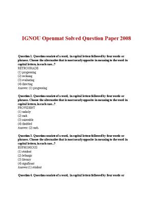 IGNOU Openmat Solved Question Paper 2008
