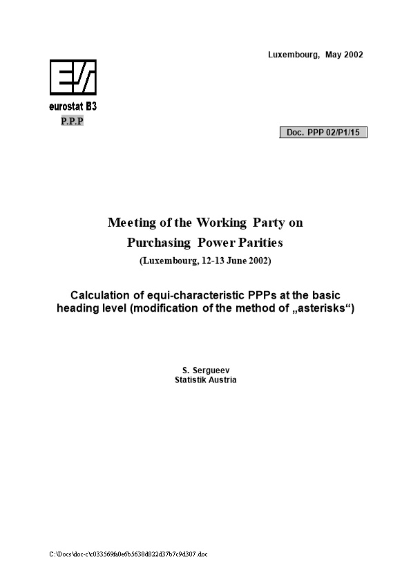 II.2 Calculation of Equi-Characteristic Ppps at the Basic Heading Level