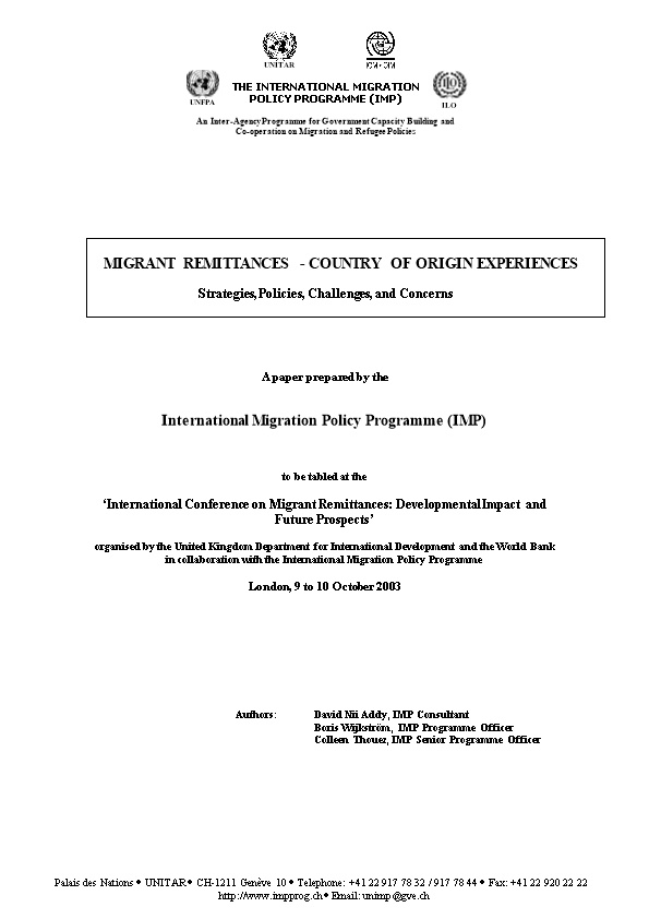IMP Paper - Migrant Remittances: Country of Origin Experiences