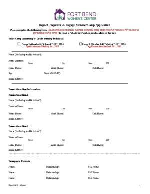 Impact, Empower & Engage Summer Camp Application