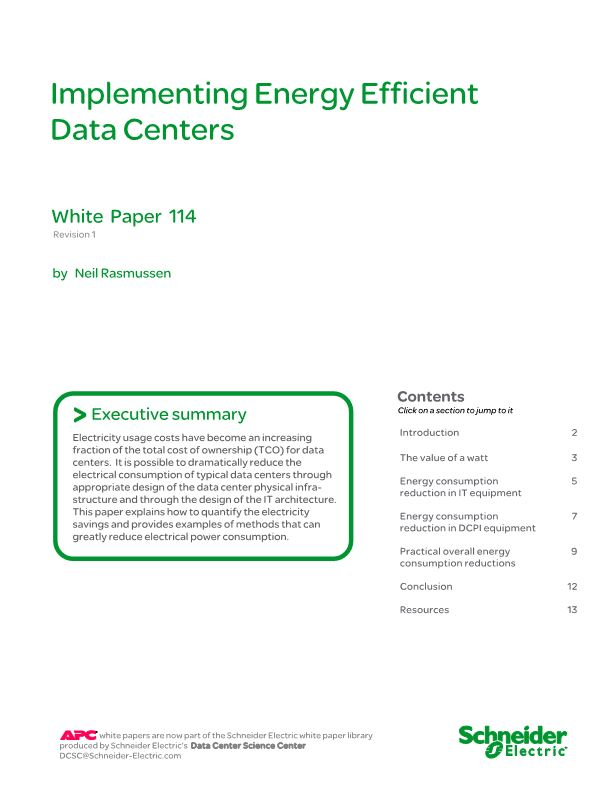 Implementing Energy Efficient Data Centers