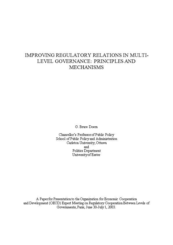 Improving Regulatory Relations in Multi-Level Governance: Principles and Mechanisms