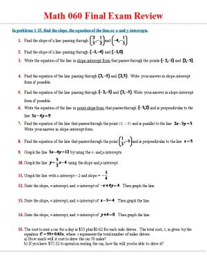 In Problems 1-15, Find the Slope, the Equation of the Line, Or X-And Y-Intercepts