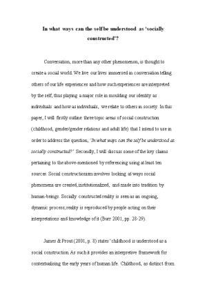 In What Ways Can the Self Be Understood As Socially Constructed