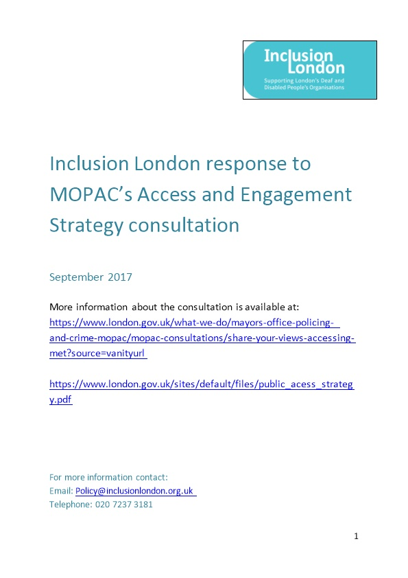Inclusion London Response to MOPAC S Access and Engagement Strategy Consultation