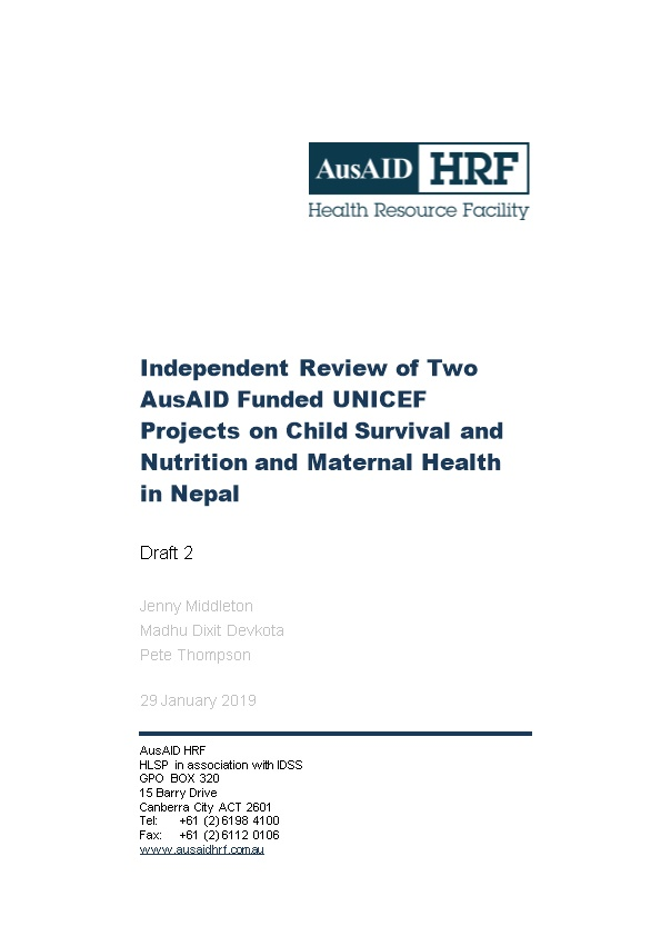 Independent Review of Two Ausaid Funded UNICEF Projects on Child Survival and Nutrition