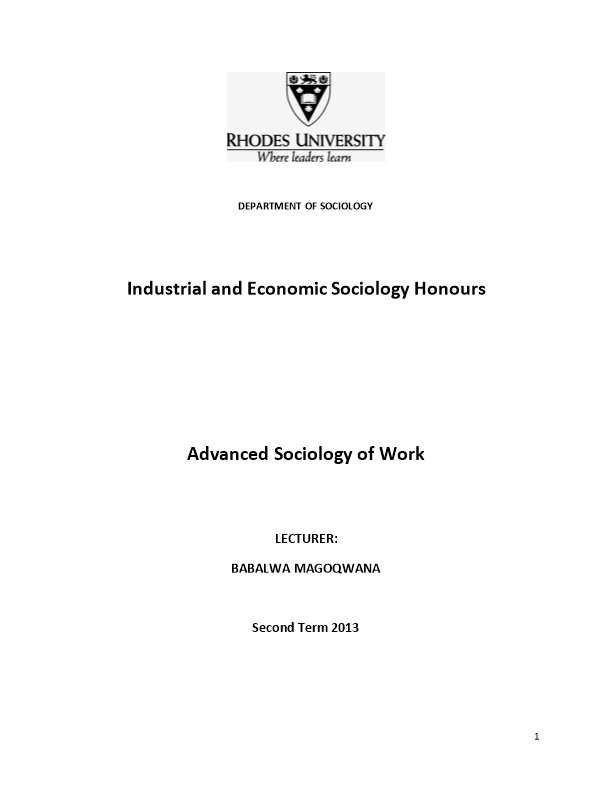 Industrial and Economic Sociology Honours