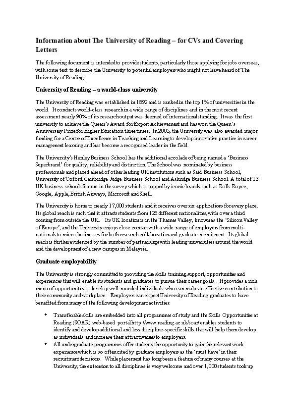 Information About the University of Reading for Cvs and Covering Letters