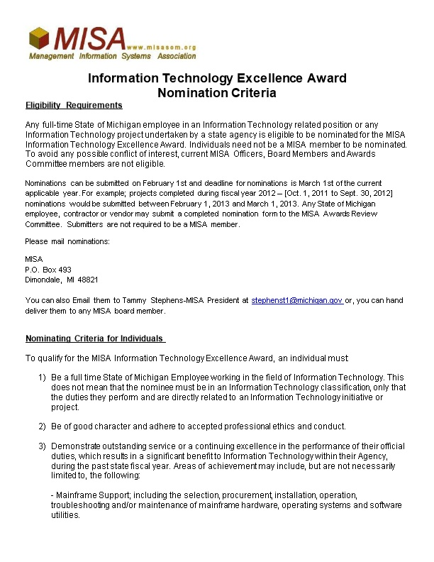 Information Technology Excellence Award