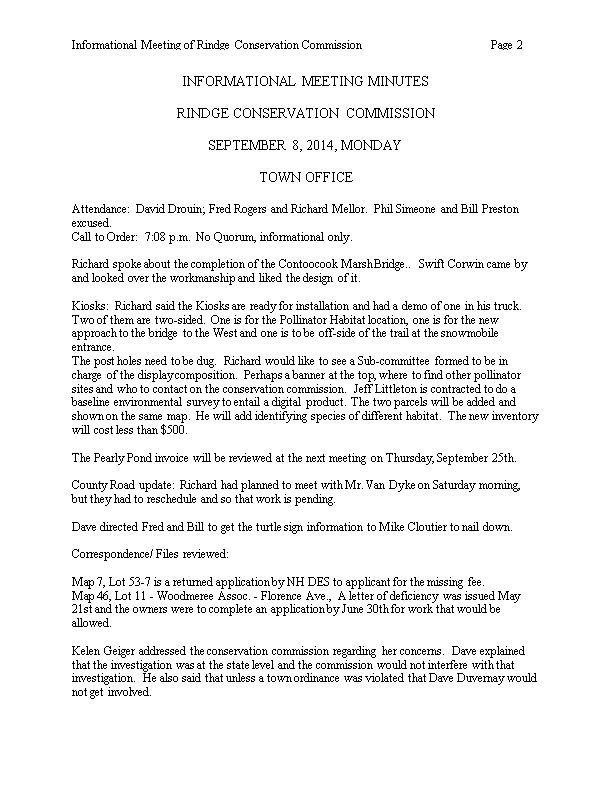 Informational Meeting of Rindge Conservation Commission Page 2