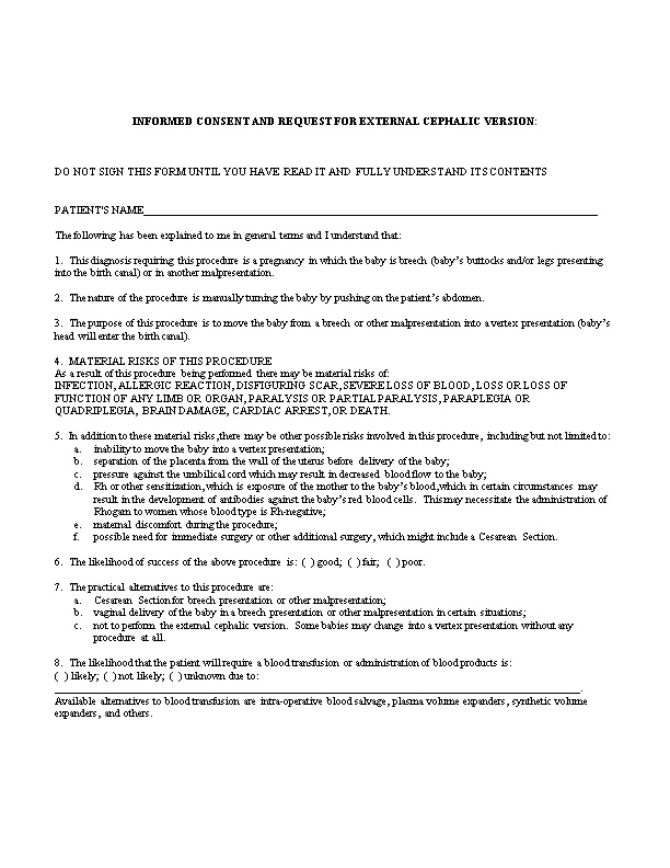 Informed Consent and Request for External Cephalic Version