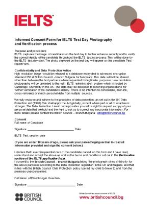 Informed Consent Form for IELTS Test Day Photography