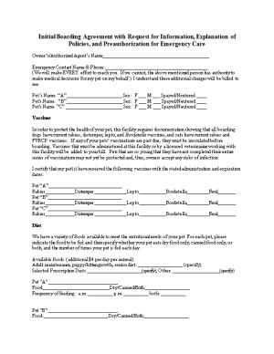 Initial Boarding Agreement with Request for Information, Explanation of Policies, And
