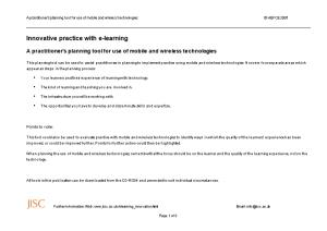 Innovative Practice with E-Learning: Mobile and Wireless Technologies