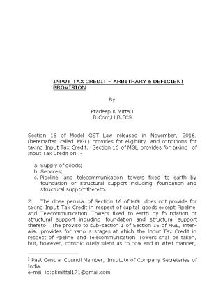 Input Tax Credit Arbitrary & Deficient Provision