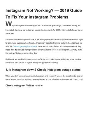 Instagram Not Working — 2019 Guide to Fix Your Instagram Problems