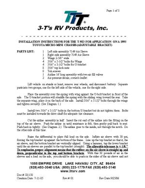Installation Instructions for the T-9E3 for Application on a 1993