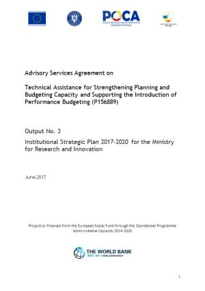 Institutional Strategic Plan 2017-2020 for the Ministry for Research and Innovation
