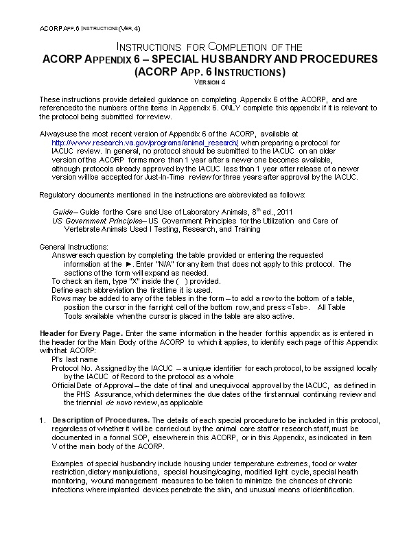 Instructions for Completion of Theacorp Appendix 6 SPECIAL HUSBANDRY and PROCEDURES(ACORP