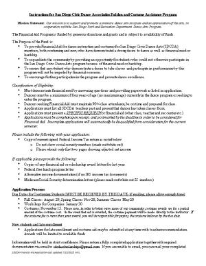 Instructions for San Diego Civic Dance Association Tuition and Costume Assistance Program
