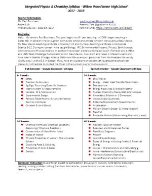 Integrated Physics & Chemistry Syllabus - Willow Wood Junior High School