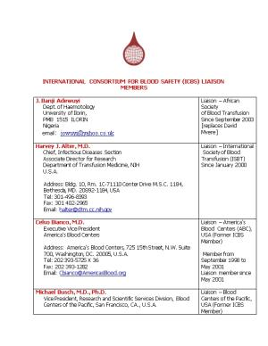 International Consortium for Blood Safety (ICBS) Liaison Members
