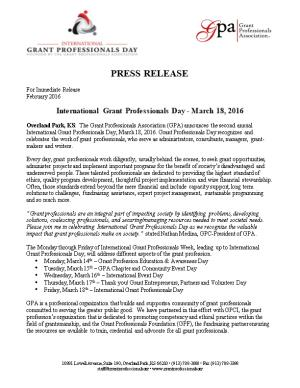 International Grant Professionals Day - March 18, 2016
