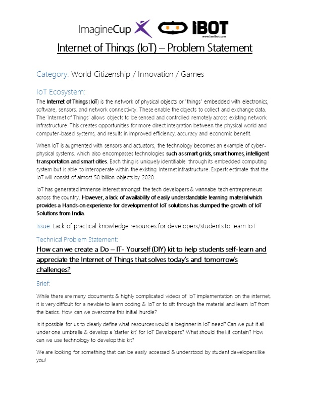 Internet of Things (Iot) Problem Statement