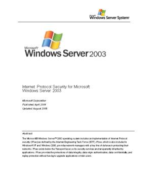 Internet Protocol Security for Microsoft Windows Server 2003
