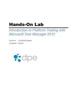 Introduction to Platform Testing with Microsoft Test Manager 2012