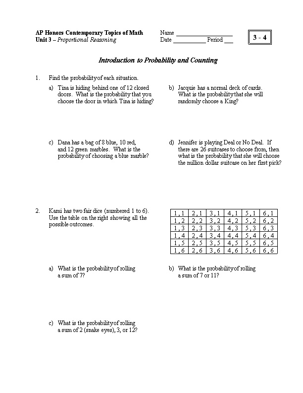 Introduction to Probability and Counting