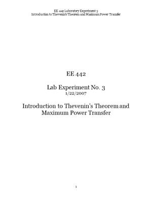 Introduction to Thevenin S Theorem and Maximum Power Transfer