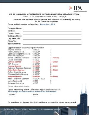 Ipa 2016 Annual Conference Sponsorship Registration Form