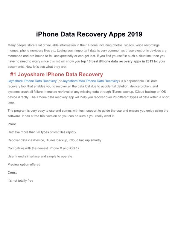 Iphone Data Recovery Apps 2019