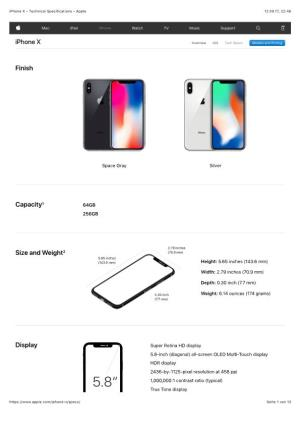 Iphone X - Technical Specifications
