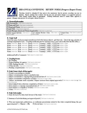 IRB ANNUAL/CONTINUING REVIEW FORM (Progress Report Form)