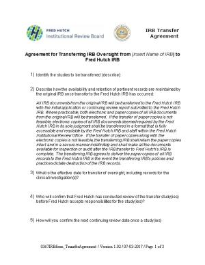 IRB Transfer Agreement