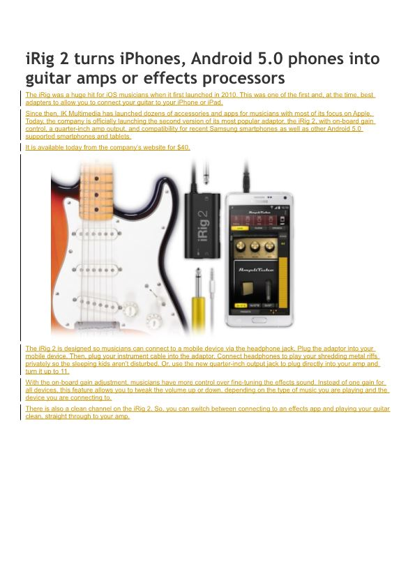 Irig 2 Turns Iphones, Android 5.0 Phones Into Guitar Amps Or Effects Processors