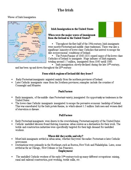 a glimpse at the irish immigration to the united states pre america the push factor the journey and  Many irish and germans immigrated to the us in the 1840s and 1850sbecause america was seen as a place with more opportunities, andbetter living conditions push factors religious prosecution (ex pogroms and russian jews) famine lack of farmland poverty pull factors jobs (industrial revolution in.