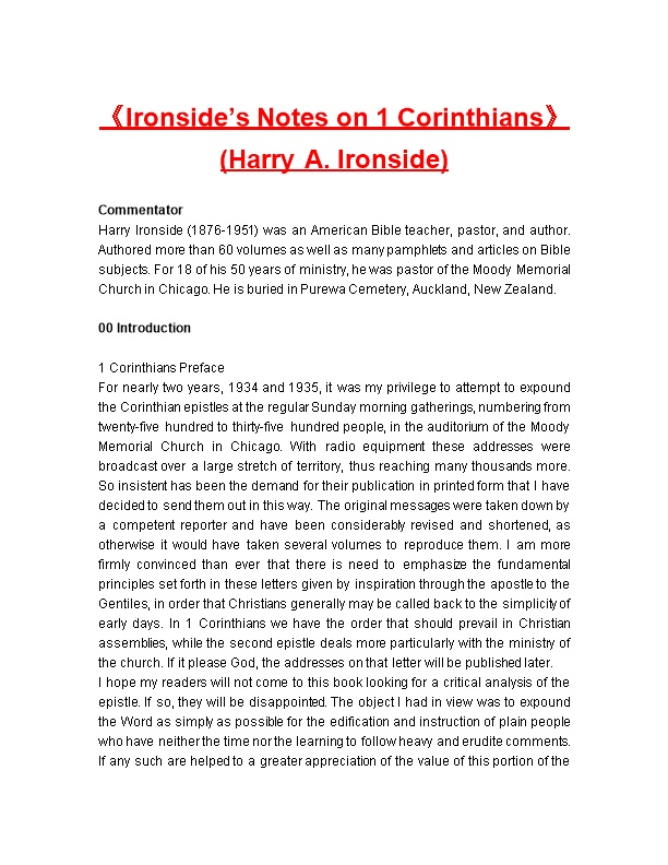 Ironside S Notes on 1 Corinthians (Harry A. Ironside)