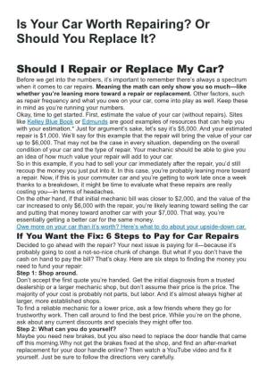 Is Your Car Worth Repairing Or Should You Replace It