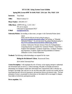 IST 111-202: Living Systems Course Syllabus