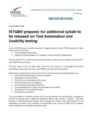 ISTQB Prepares for Additional Syllabi to Be Released on Test Automation and Usability Testing