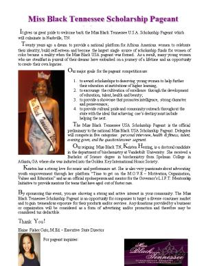 It Gives Us Great Pride to Welcome Back the Miss Black Tennessee U.S.A. Scholarship Pageant