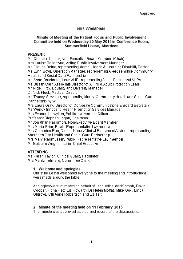Item 11.5 Patient Focus and Public Involvement 20 May for 1 Oct