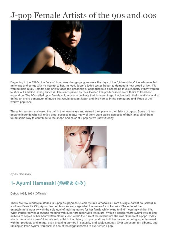 J-Pop Female Artists of the 90S and 00S